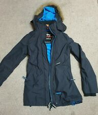 SUPERDRY women winter parka dark grey with blue fleece lining Size XS
