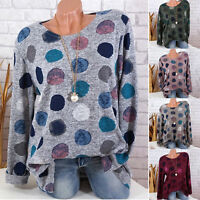 Plus Size Womens Polka Dot Long Sleeve Blouse Ladies Loose Baggy Top T-Shirt Tee