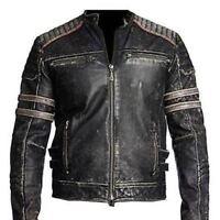 Hombre Moteros Vintage Moto Envejecido Negro Retro Chaqueta de Cuero