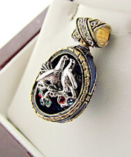 BEAUTIFUL RUSSIAN PENDANT SOLID STERLING SILVER 925 & 24K GOLD W/ KISSING DOVES