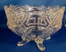 """Large Clear Pressed Glass Antique 4 Footed Bowl Flowers 5.25"""" Tall Marked Good"""