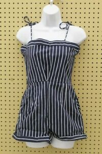 Fiveloaves Twofish Big Girl's Vintage Stripe Romper (Navy, Size 16)