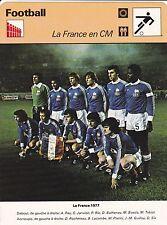 FOOTBALL carte  fiche photo  équipe LA FRANCE 1977