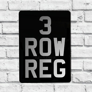 """3 Row Portrait Black & Silver Motorcycle Number Plate 5 x 7"""" Flexible Show Plate"""