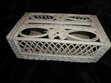 Tissue Box Cover Shabby VTG Retangular Kleenx Wicker White Cottage Beach House