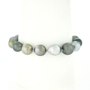 """6.75"""" 9-10.5mm Baroque Gray Pearl Bracelet w/ 14k White Gold Grooved Ball Clasp"""