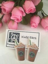 Resin Hard Plastic Flat Large Mermaid Coffee Frappuccino STUD back Earrings