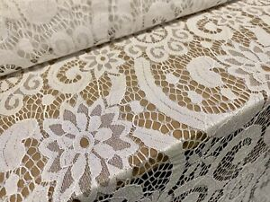 Pearlescent Shimmer Lace Fabric, Per Metre - Floral Swirl Design - White