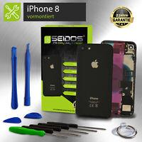Backcover für iPhone 8 Schwarz VORMONTIERT Gehäuse Rückseite + Tasten + Kleber
