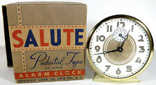 "Vtg. 1950's Aristocrat Salute Model 4.25""t Pedestal Type Wind Up Alarm Clock Ob"