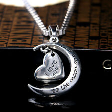 "Beauty Sweet ""I love you to the Moon and back"" Party  Alloy Necklace Pendant"