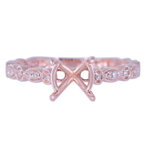 7-8mm Round 0.2ct Diamonds Wedding Ring Semi Mount Fine Ring Solid 14K Rose Gold