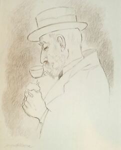 Bearded Man Sipping Coffee Pencil Drawing-1950s-August Mosca