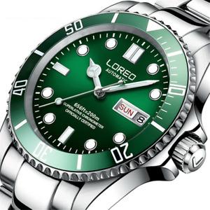 Loreo Automatic Watch Mechanical Sapphire Mens Waterproof  Stainless Wristwatch