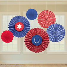 6 Assorted Wild West Bandana Western Party Hanging Paper Fan Decorations
