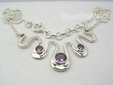 925 Sterling Silver Original AMETHYST DESIGNER Curb Chain Necklace 17 1/8""