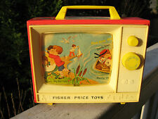 VINTAGE 1966 ORGINAL FISHER PRICE TWO TUNE BIG SCREEN MUSIC TV BOX