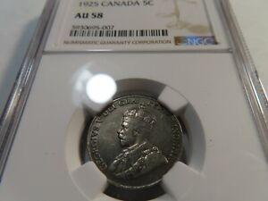T20 Canada 1925 5 Cents NGC AU-58