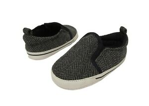 Baby Boys 9-12 Months CARTERS Black Gray Herringbone Crib Shoes Soft Canvas NWOT