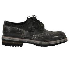 Santoni scarpe pelle vintage uomo men's shoes grigio grey taglia 6.5 (40.5)