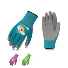 Foam Rubber Coated Gardening and Work Gloves for Kids 3 Pairs Colors Size