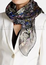 "ALEXANDER MCQUEEN black WILD MEADOW Floral silk chiffon 52"" scarf NWT Authentic!"