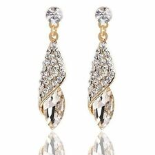 Gold Plated Clear Earring Women Geometric Crystal Tear Drop Long Earrings Charm