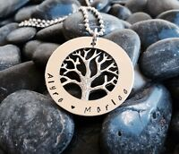 tree of life hand stamped stainless steel 38mm washer necklace Custom Made