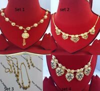 Gold Plated Indian Style fashion Beads Necklace Chain, bracelet, earring set