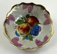 Vintage Pretty Lusterware Bowl w Gold Trim Orchard / Fruit Made by Metasco Japan
