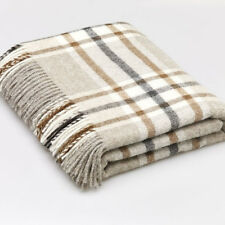 BRONTE by Moon Arncliffe BEIGE Throw 100% Pure New Shetland Wool Blanket Check