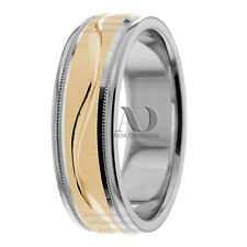 6mm Milgrain & Wavy Design Two Tone 10K Gold His / Hers Wedding Band Ring
