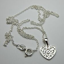 Solid 925 Sterling Silver Heart Pendant Necklace High Quality 45cm New, Gift Bag