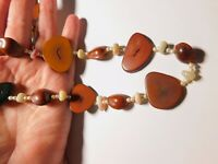 Off White Faux Pearl Mother Of Pearl Sliced Wood Natural Seed Necklace Vintage