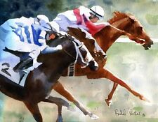 Giclee Racehorse Art PRINT Equine Derby Thoroughbred race horse Quarter