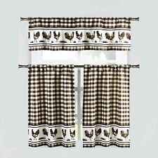 3 Piece Window Curtain Set: Gingham Check and Rooster Design (Brown)