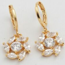 Pretty New Yellow Gold Filled Round & Marquis Clear CZ  Flower Dangle Earrings