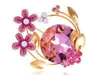 New Xmas Gift Rose Pink Flower Bouquet Orb Crystal Rhinestone Pin Brooch Jewelry