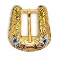14K Solid Yellow Gold Holland's Belt Buckle with Sapphires 25.4 Grams