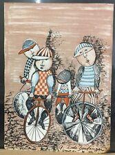 "G. Rodo Boulanger Lithograph ""Boys Riding Bikes"" Stone Signed 9"" x 12"" Good Cond"