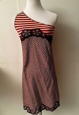 NWOT Stella McCartney White Red Stripe Geometric One Shoulder Dress Sz 34 S US 2