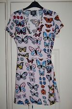 New Sz S Valfie wrap over front Dress Tunic in Pink with Butterfly Ladybirds