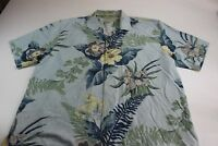 MINT Tommy Bahama 100% Silk Bliss Blue Floral Button Front Shirt XL Extra Large