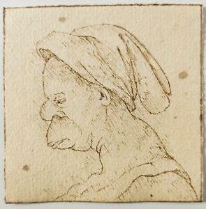 OLD MASTER DRAWING. After Leonardo Da Vinci. A GROTESQUE Head Rare Sepia ink