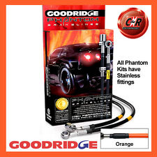 Peugeot 306 (Rr Disc) 93-97 Goodridge S.Steel Orange Brake Hoses SPE0901-6C-OR