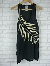 SHONA JOY Tank Top Sz 8 Black w/ Cream Embroidered Print