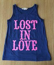 Ragazze H&M Lost in Love Super Cool Canotta dai 10-12 ANNI Blu Navy E Rosa