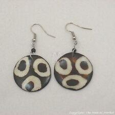 Cow Bovine Bone Dangle Earrings 635-8 Maasai Market Africa Ethnic Mudcloth Print