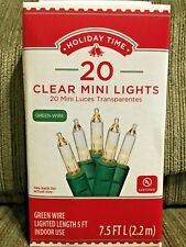 Holiday Time 20 Clear White Mini Lights Green Wire NIB