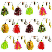12pcs Fishing Spinner Spoon Baits Jigs Head Rubber Skirts Fishing Lure Pike Bass